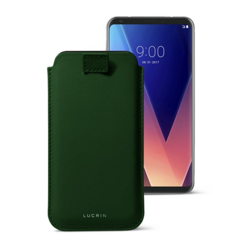 LG V30 case with pull-up tab - Dark Green - Smooth Leather