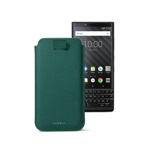 Étui Tirette BlackBerry Key 2/Key 2 LE - Vert Foncé - Cuir de Chèvre