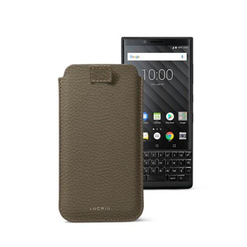 Étui Tirette BlackBerry Key 2/Key 2 LE - Taupe Foncé - Cuir Grainé