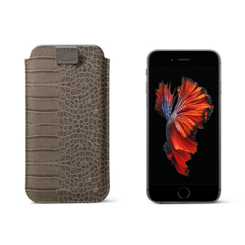 iPhone 6 Plus/6S Plus/7 Plus case with pull-up strap - Light Taupe - Crocodile style calfskin