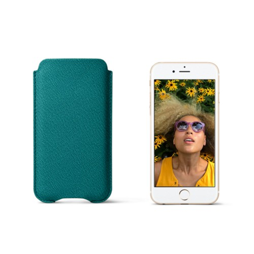 Protection case for iPhone 7 - Sea Green - Goat Leather