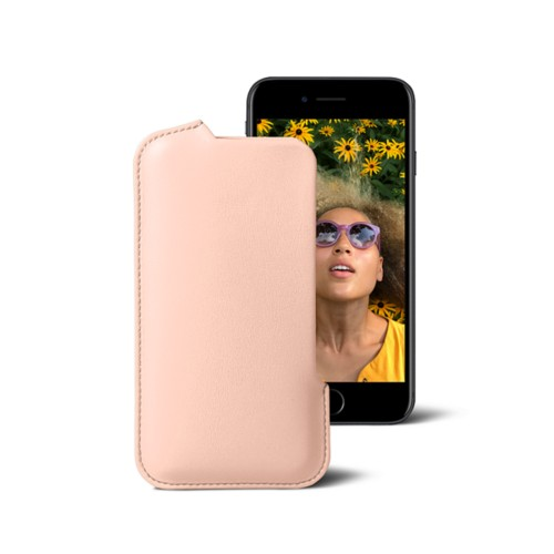 Pouch for iPhone 7 - Nude - Smooth Leather