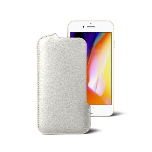 iPhone 8 Pouch - White - Goat Leather