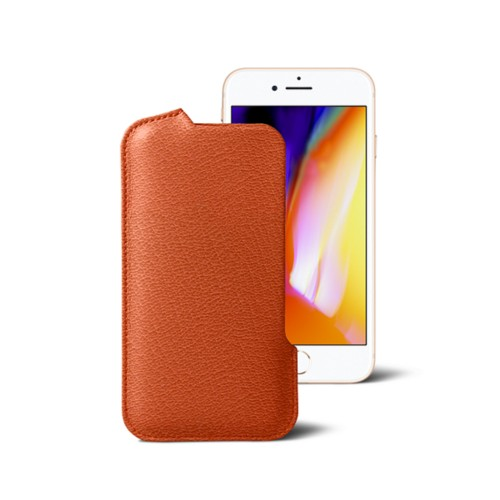 iPhone 8 Pouch - Orange - Goat Leather