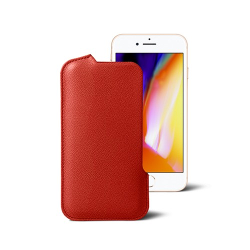 iPhone 8 Pouch - Red - Goat Leather