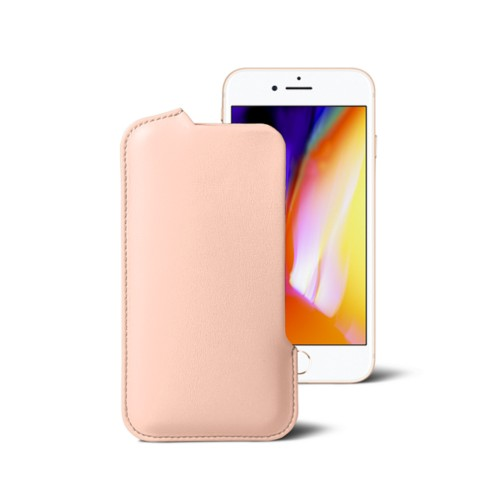 iPhone 8 Pouch - Nude - Smooth Leather
