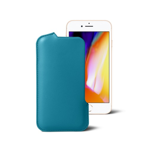 iPhone 8 Pouch - Turquoise - Smooth Leather