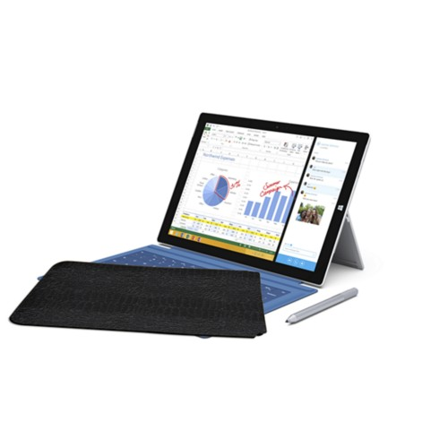 Case for Microsoft Surface Pro 3 - Black - Crocodile style calfskin