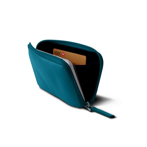 iPhone 8 zipped pouch - Turquoise - Smooth Leather