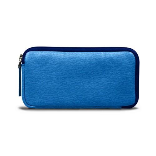 Bolsa para iPhone 6 Plus/6S Plus com fecho de correr - Azul Real - Couro de Cabra