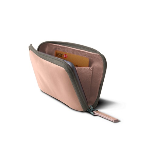 Zipped Pouch for iPhone XR - Nude - Smooth Leather