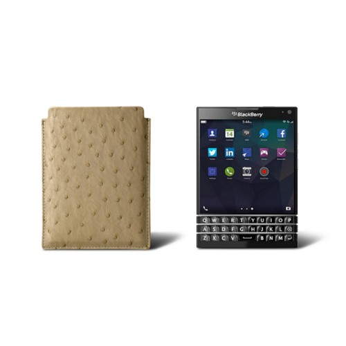 Sleeve for Blackberry Passport - Beige - Real Ostrich Leather