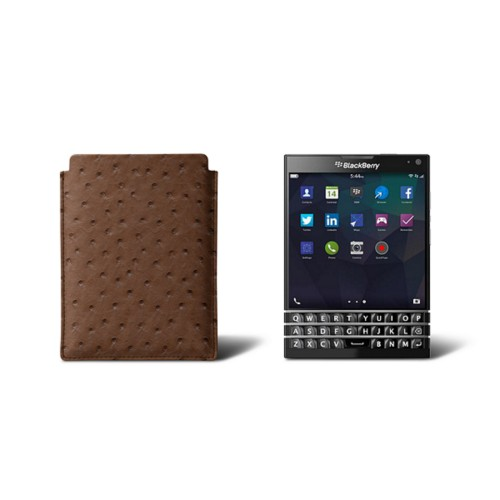 Sleeve for Blackberry Passport - Tobacco - Real Ostrich Leather