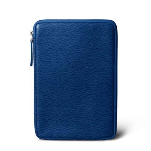 Zipped pouch for iPad Mini - Royal Blue - Granulated Leather