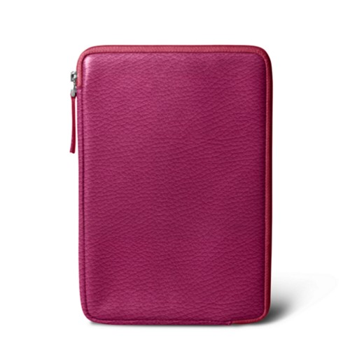 Zipped pouch for iPad Mini - Fuchsia  - Granulated Leather