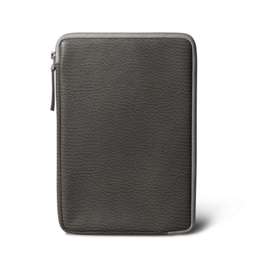 Zipped pouch for iPad Mini - Dark Grey - Granulated Leather
