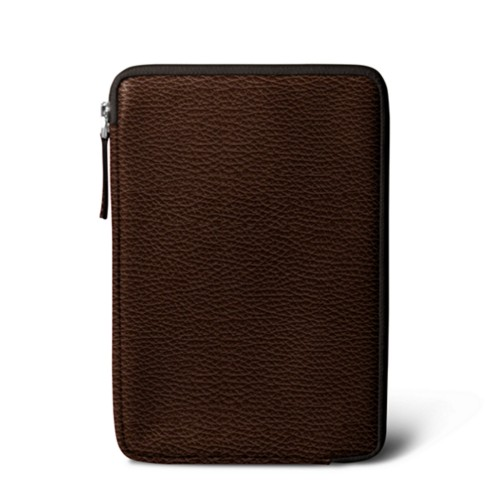 Zipped pouch for iPad Mini - Brown - Granulated Leather