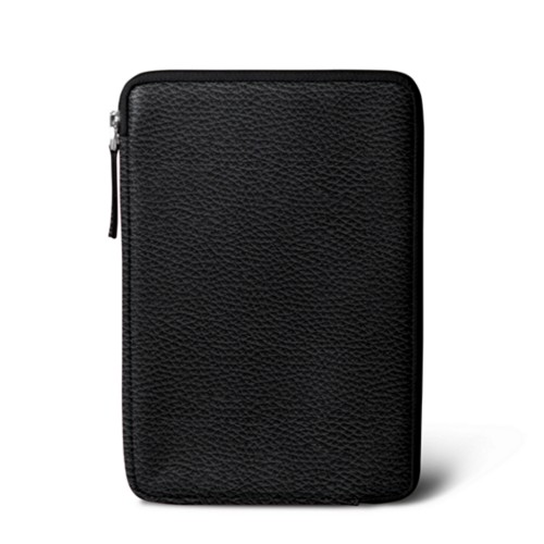 Zipped pouch for iPad Mini - Black - Granulated Leather
