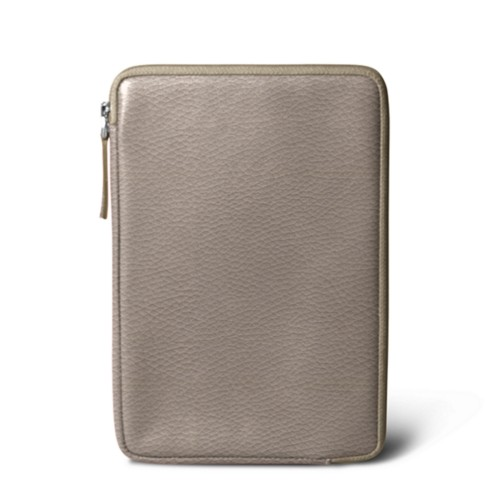 Zipped pouch for iPad Mini - Light Taupe - Granulated Leather