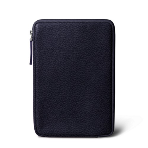 Zipped pouch for iPad Mini - Purple - Granulated Leather
