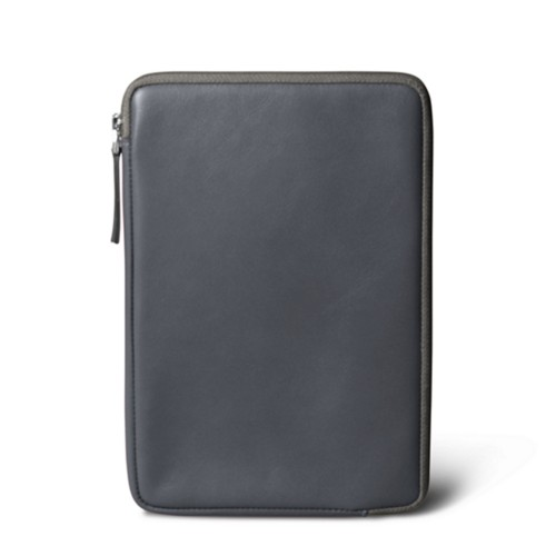 Zipped pouch for iPad Mini - Mouse-Grey - Smooth Leather