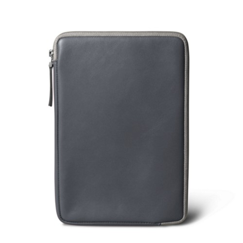 Zipped pouch for iPad Mini - Dark Grey - Smooth Leather