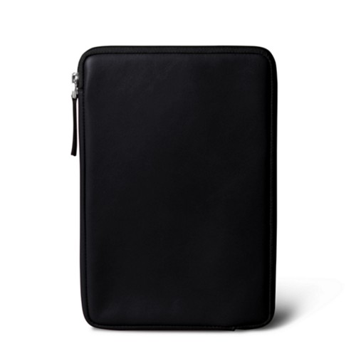Zipped pouch for iPad Mini - Black - Smooth Leather