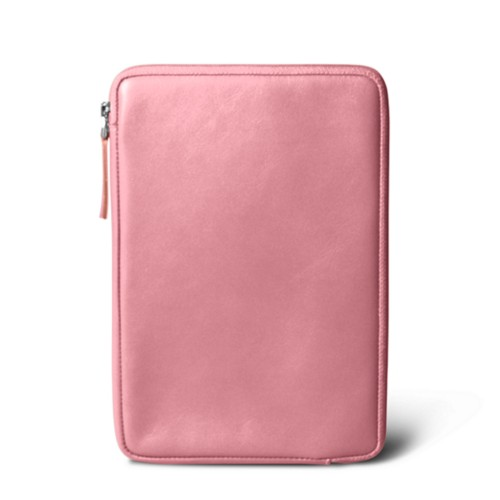 Zipped pouch for iPad Mini - Pink - Smooth Leather