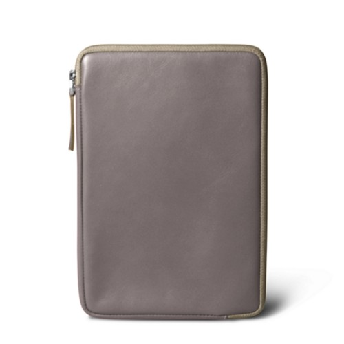 Zipped pouch for iPad Mini - Light Taupe - Smooth Leather
