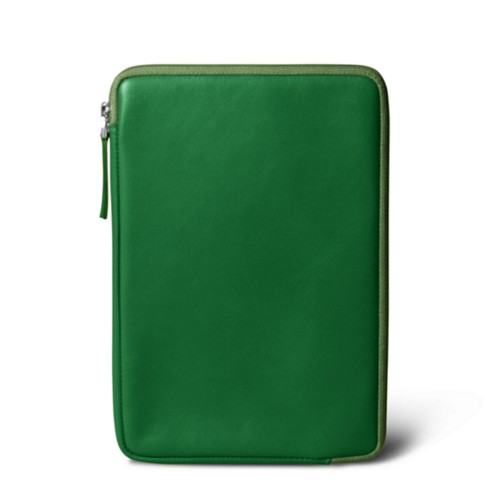 Zipped pouch for iPad Mini - Light Green - Smooth Leather