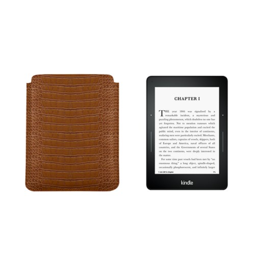 Case for Kindle Voyage - Camel - Crocodile style calfskin