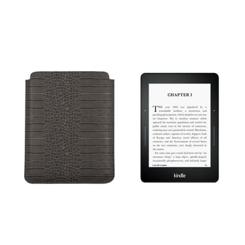 Housse pour Kindle Voyage - Gris Souris - Veau Façon Crocodile