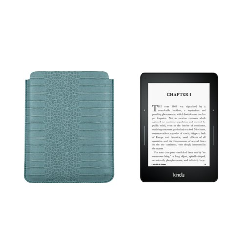 Case for Kindle Voyage - Turquoise - Crocodile style calfskin