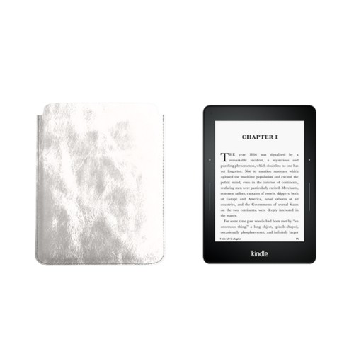 Case for Kindle Voyage - Silver - Metallic Leather