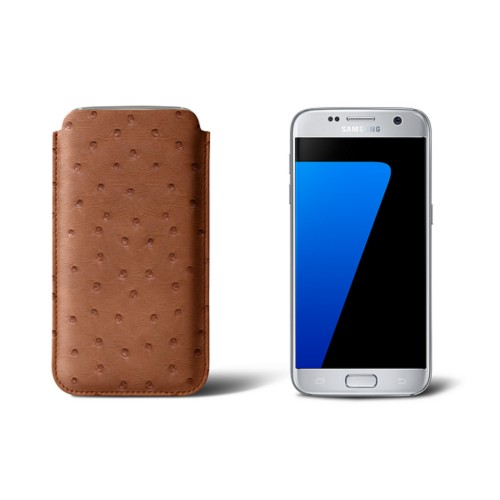 Sleeve for Samsung Galaxy S7 - Tan - Real Ostrich Leather