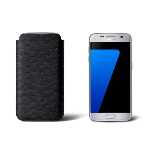 Sleeve for Samsung Galaxy S7 - Black - Real Ostrich Leather