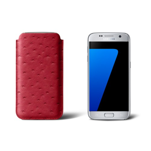 Sleeve for Samsung Galaxy S7 - Red - Real Ostrich Leather