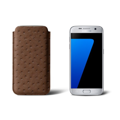 Sleeve for Samsung Galaxy S7 - Tobacco - Real Ostrich Leather