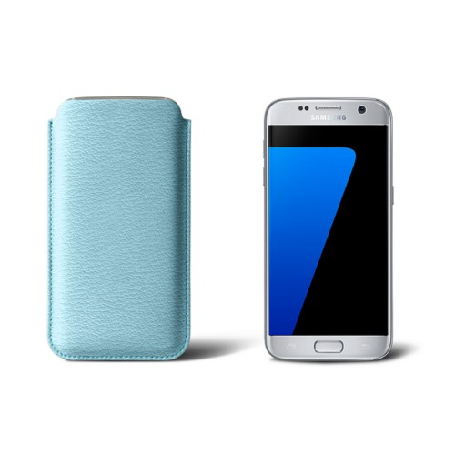 Sleeve for Samsung Galaxy S7 - Sky Blue - Goat Leather