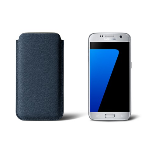Sleeve for Samsung Galaxy S7 - Navy Blue - Goat Leather