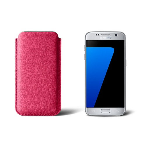 Sleeve for Samsung Galaxy S7 - Fuchsia  - Goat Leather