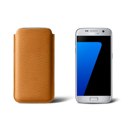 Sleeve for Samsung Galaxy S7 - Saffron - Goat Leather