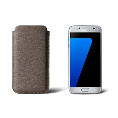 Sleeve for Samsung Galaxy S7 - Dark Taupe - Goat Leather