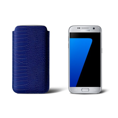 Sleeve for Samsung Galaxy S7 - Royal Blue - Crocodile style calfskin