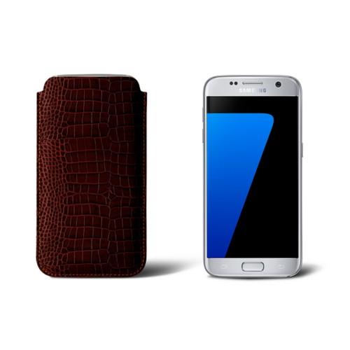 Sleeve for Samsung Galaxy S7 - Tan - Crocodile style calfskin