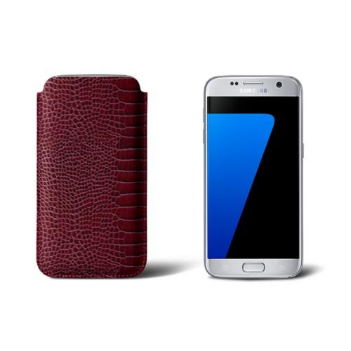 Sleeve for Samsung Galaxy S7 - Fuchsia  - Crocodile style calfskin