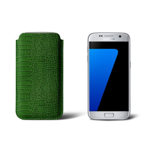Sleeve for Samsung Galaxy S7 - Light Green - Crocodile style calfskin