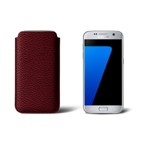 Sleeve for Samsung Galaxy S7 - Burgundy - Granulated Leather