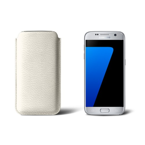 Sleeve for Samsung Galaxy S7 - Off-White - Granulated Leather