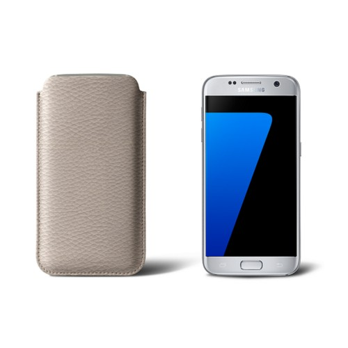 Sleeve for Samsung Galaxy S7 - Light Taupe - Granulated Leather